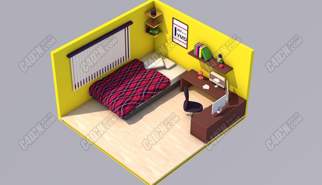 卡通微观视觉室内房间渲染C4D工程模型(含AE文件)
