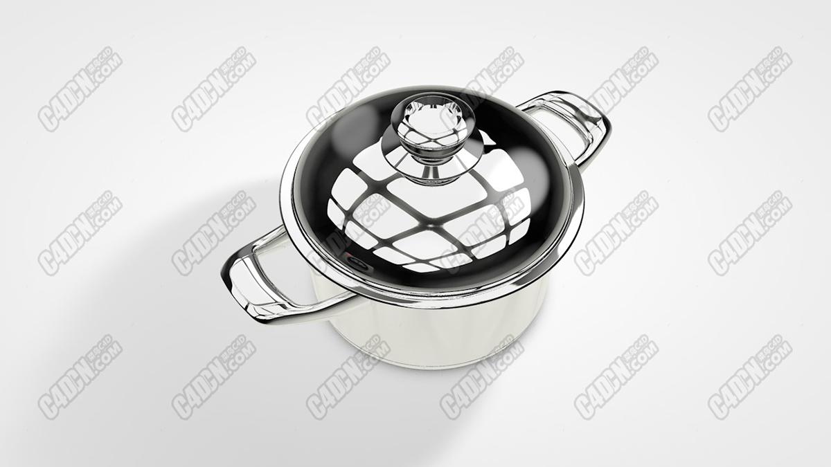 C4D模型-不銹鋼鍋具餐具廚房用品模型