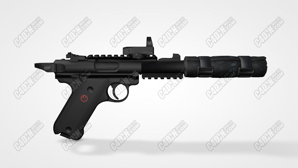 鲁格马克四世战术C4D模型 Ruger Mark IV tactical C4D model