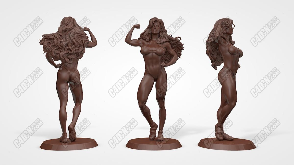 C4D强壮的长发健美女孩雕塑雕像手办模型 She Hulk C4D Model 3D print model