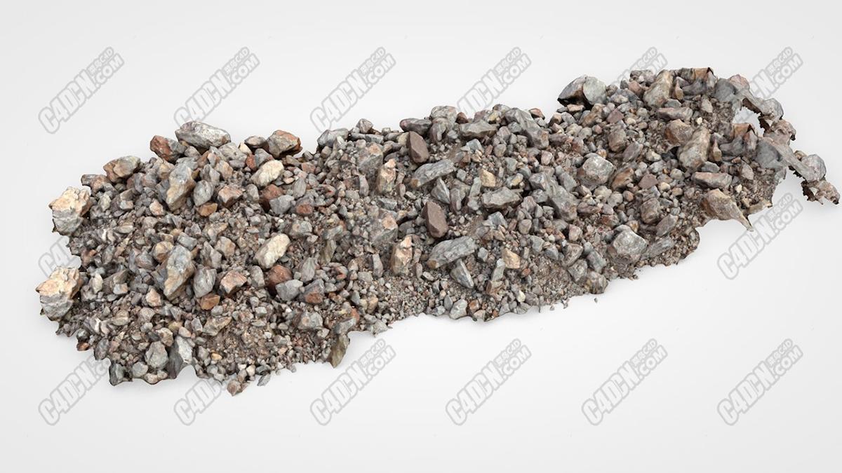 15米长石滩石子路面鹅卵石C4D模型Stone beach (15 meters) c4d model