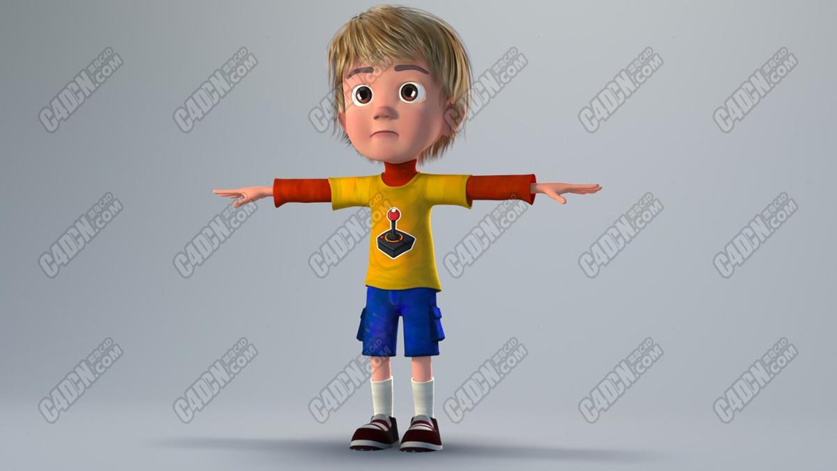 可爱卡通小男孩3D模型(含绑定) Cute cartoon little boy 3D model (with binding)