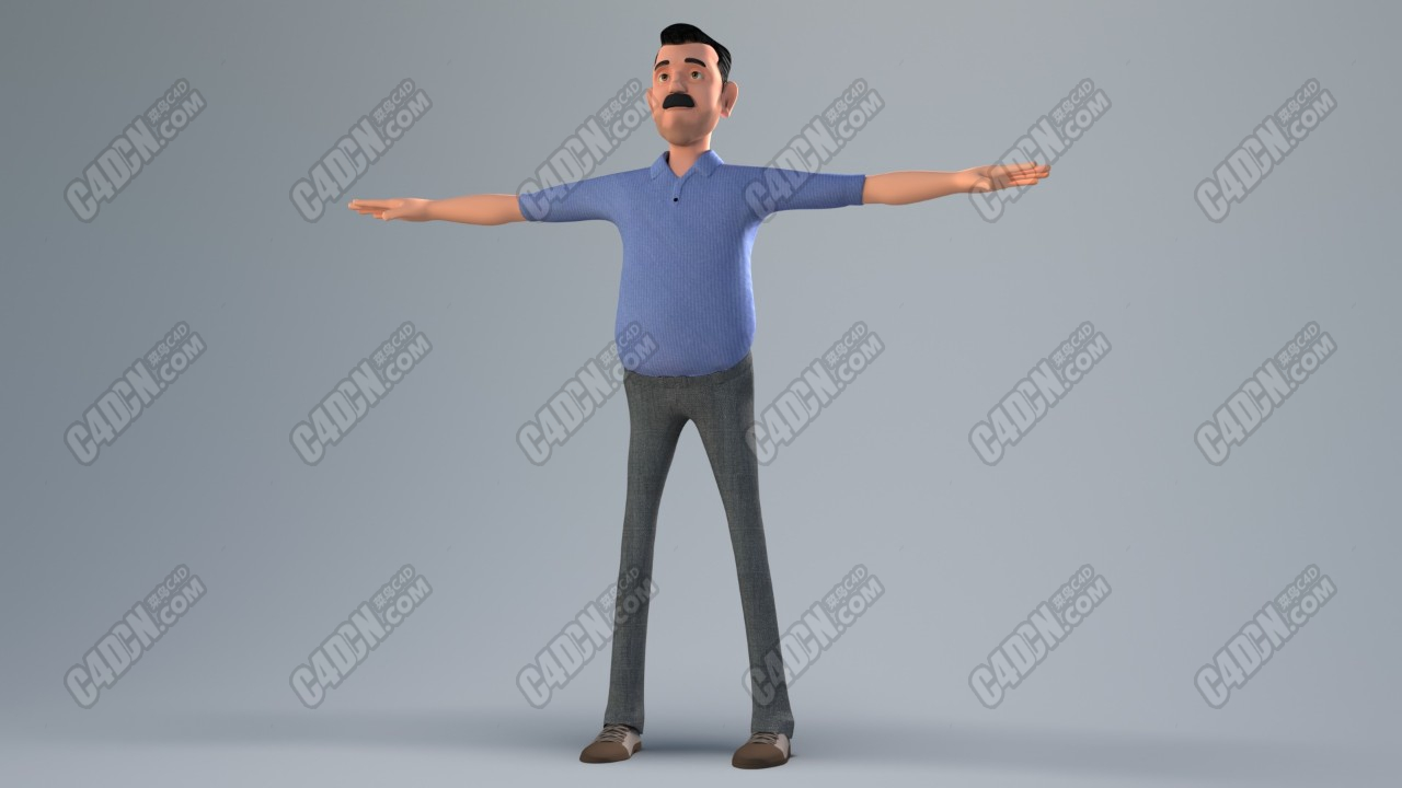 中年男人卡通绑定人物3D模型合集 Middle-aged man cartoon bound character 3D model collection