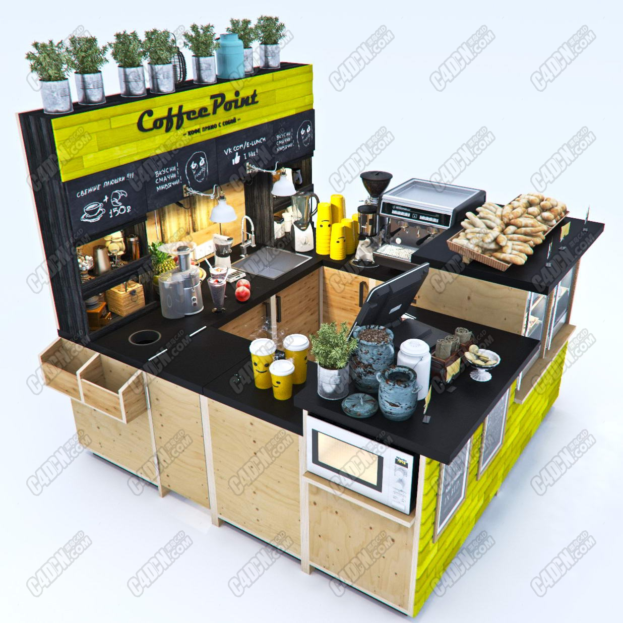 咖啡吧台咖啡桌3D模型 Coffee Point 3d Model