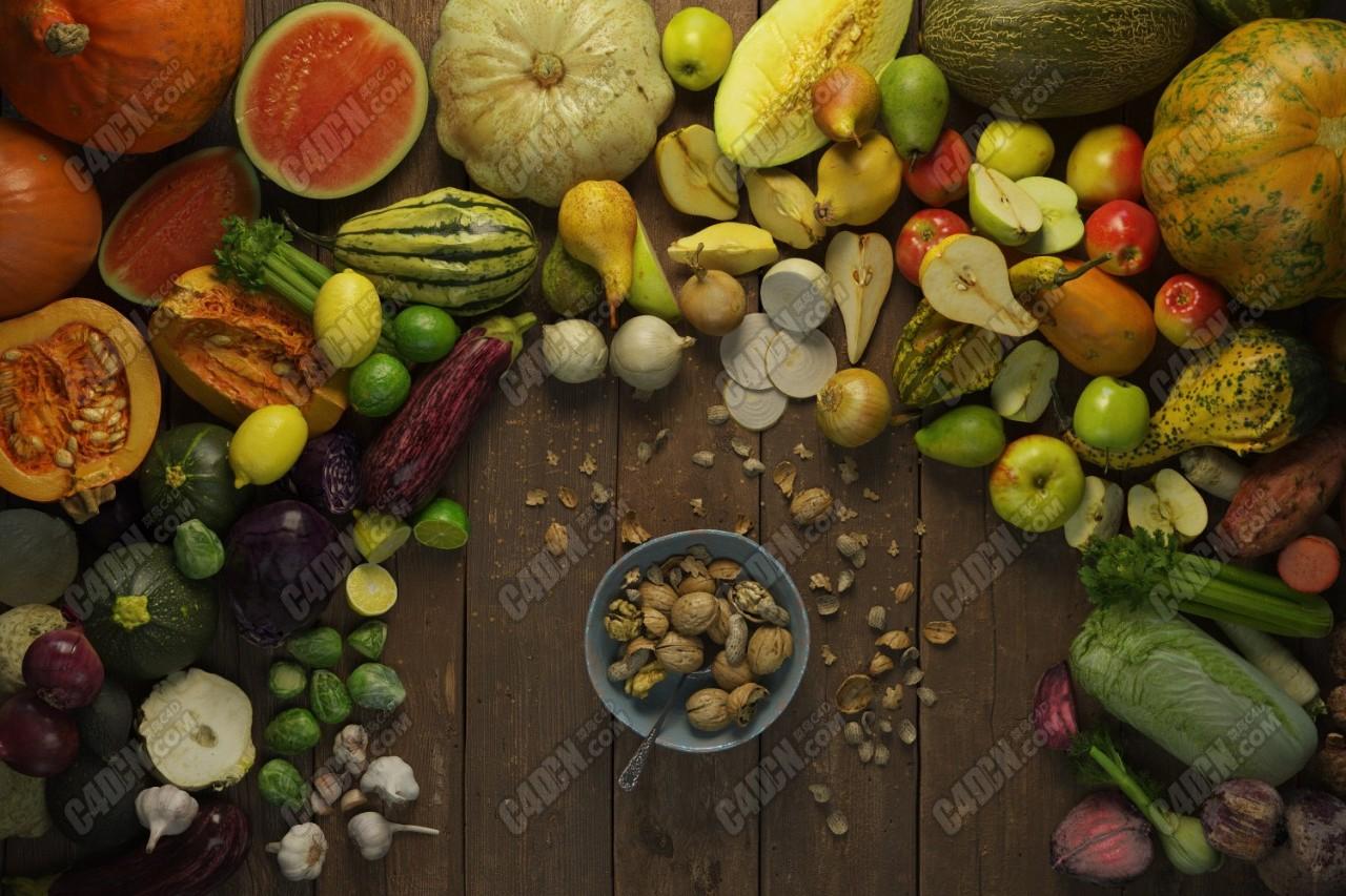 52组精美写实水果干果蔬菜食品3D模型合集