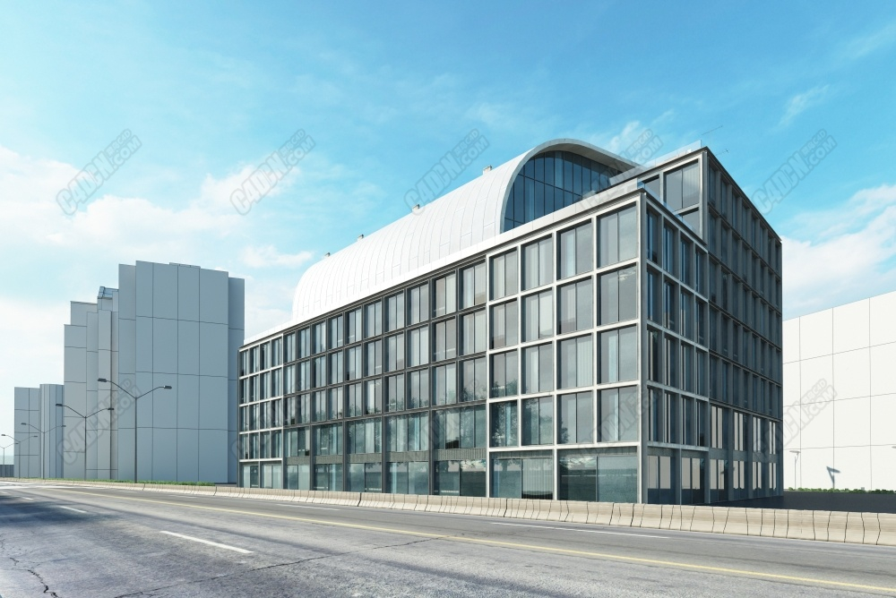 C4D模型-现代城市商业区软件园办公楼模型 C4D model-office building model of modern city business park software park