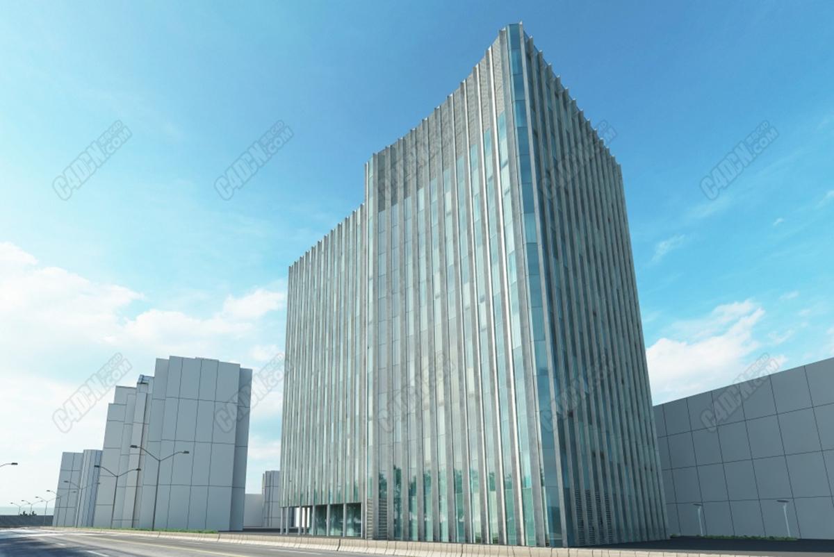 C4D模型-現代城市建筑大廈樓盤辦公樓辦公區模型 C4D model-Modern city building mansion office building office area model