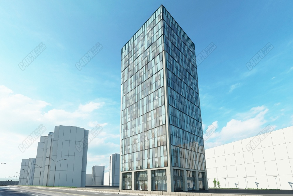 C4D模型-现代城市商厦大楼办公大厦模型 Modern city commercial building office building model