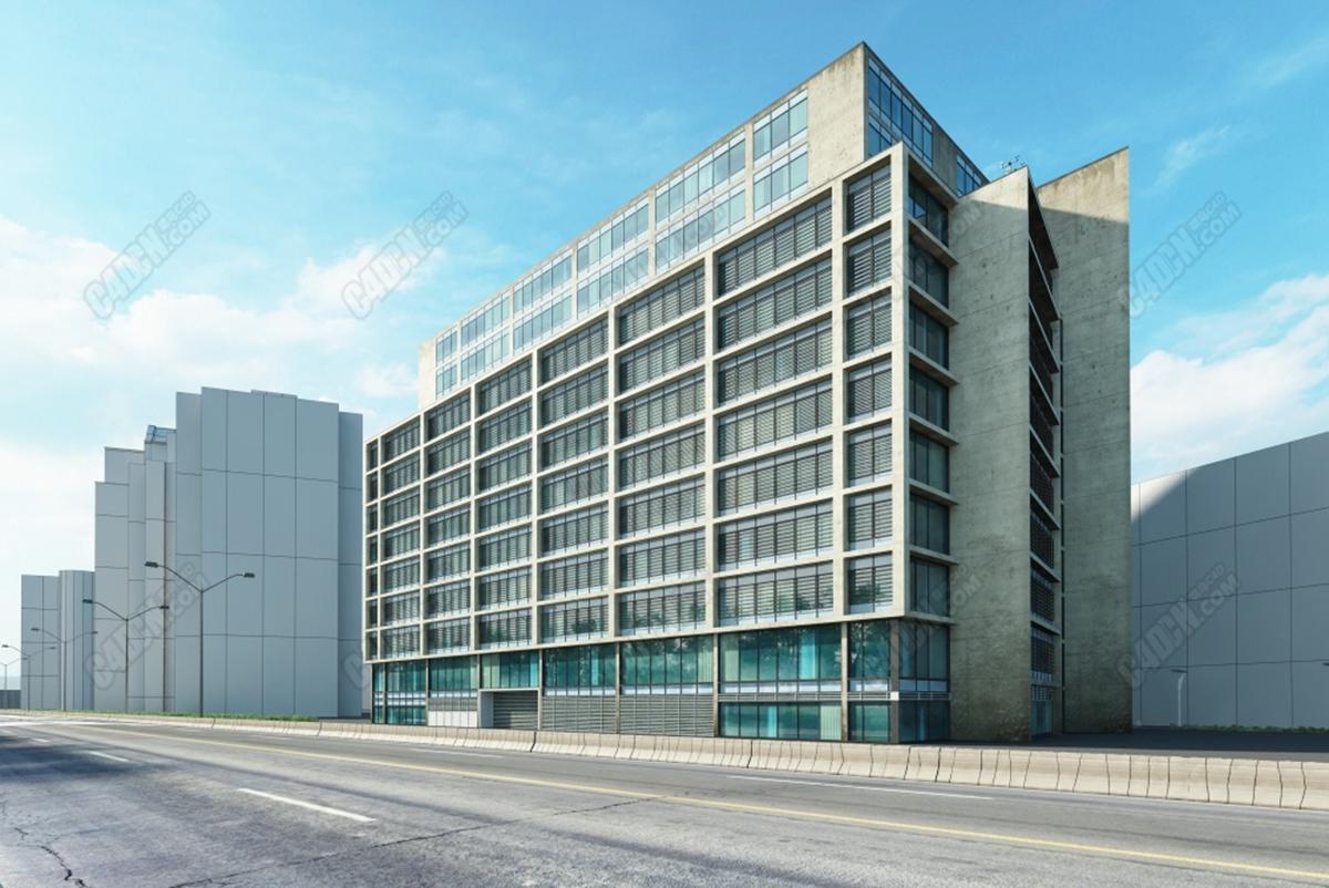 C4D模型-错层结构办公楼大厦模型 Split-level office building model