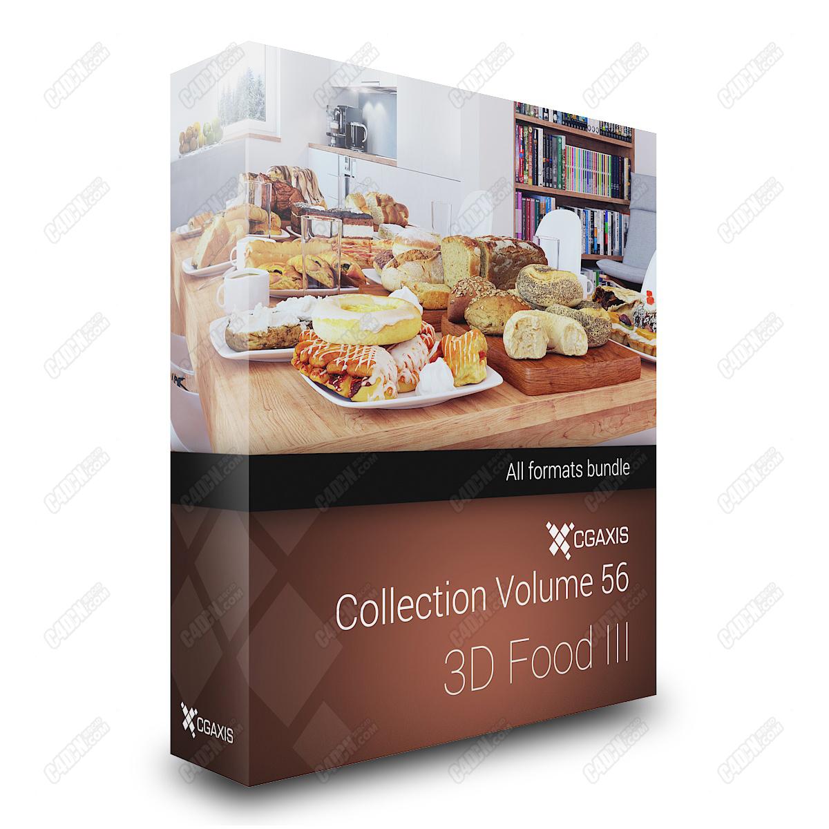 C4D模型-81套精品写实面包食物早餐食品模型大合集