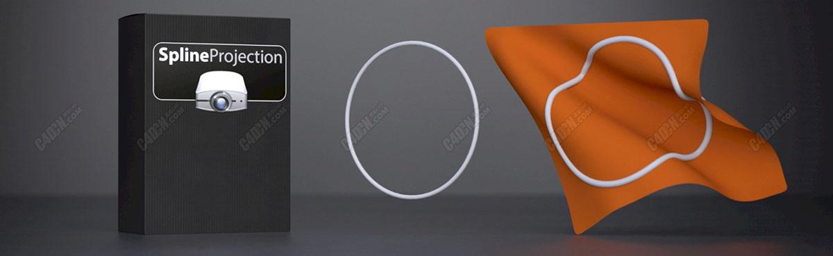 C4D插件-样条投影投射插件 Spline Projection 1.0.1