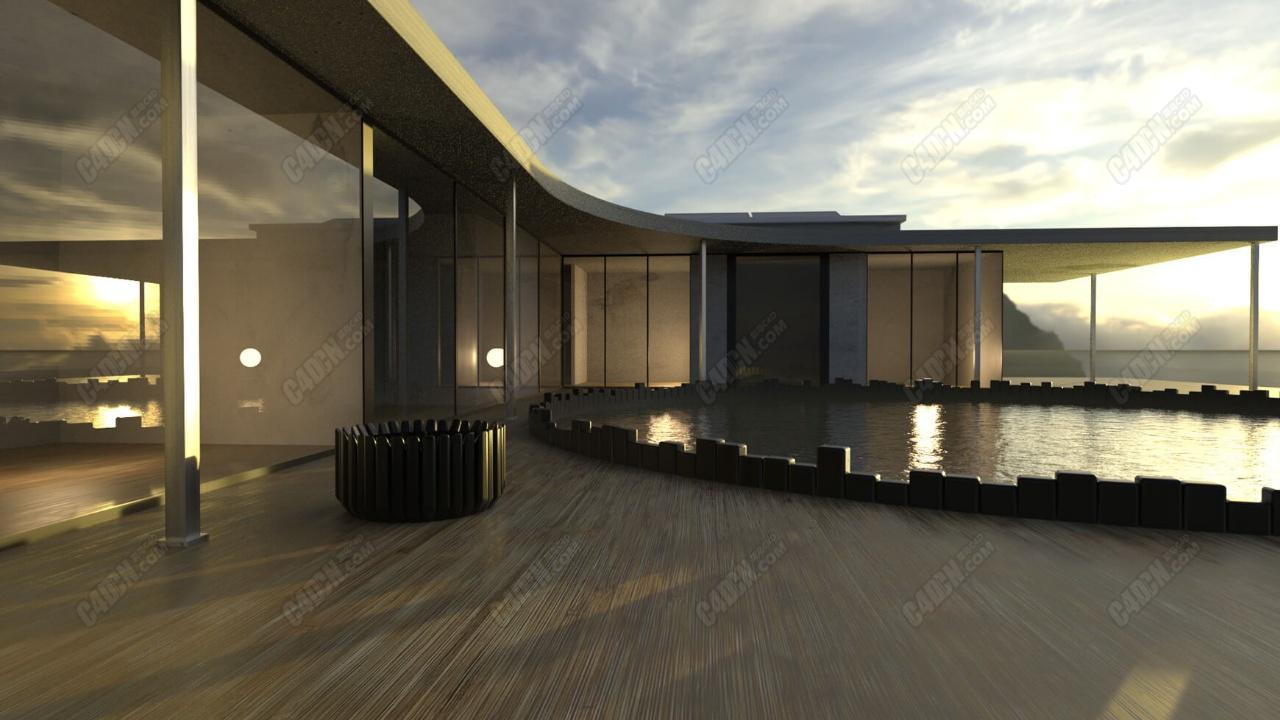 C4D模型-有游泳池的室外别墅建筑场景工程模型