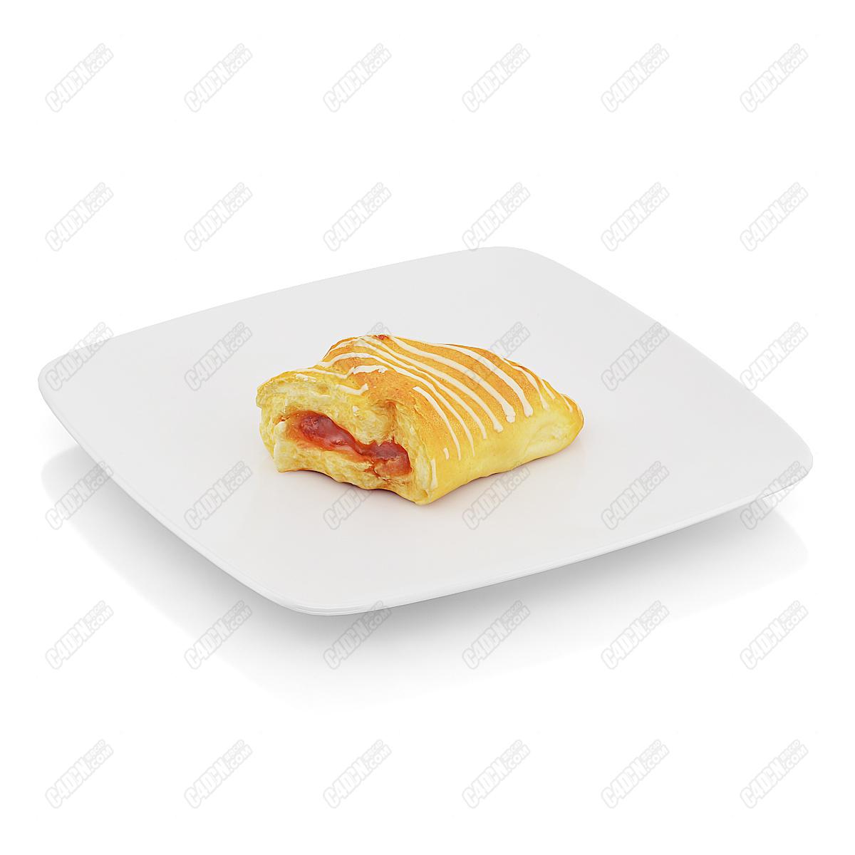 C4D模型-奶油果酱夹心饼蛋糕房面包(包含材质和贴图)