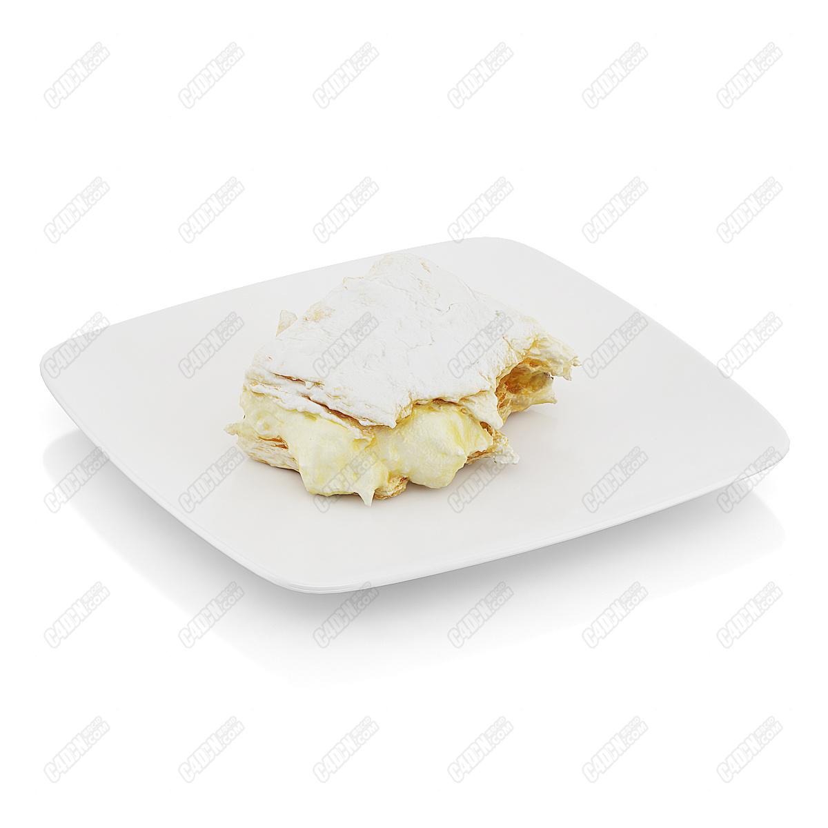 C4D模型-快要融化的奶油夹心蛋糕超市促销面包模型(包含材质和贴图)
