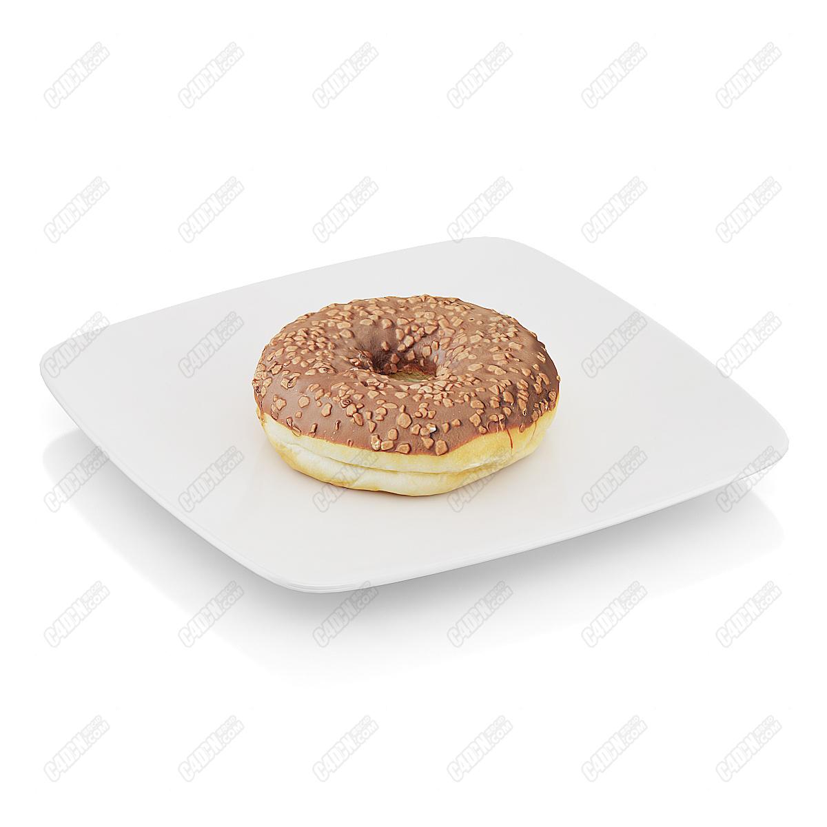 C4D模型-瓜子仁巧克力果酱甜甜圈面包蛋糕模型(包含材质和贴图)