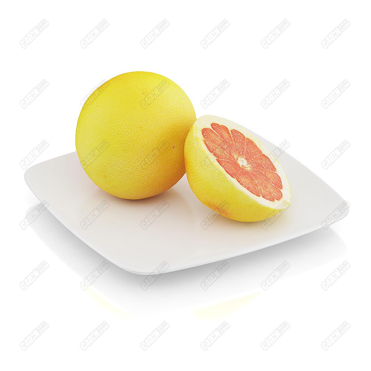 C4D模型-水果刀起开的橙子内瓤橘子夏天水果模型(包含材质和贴图)