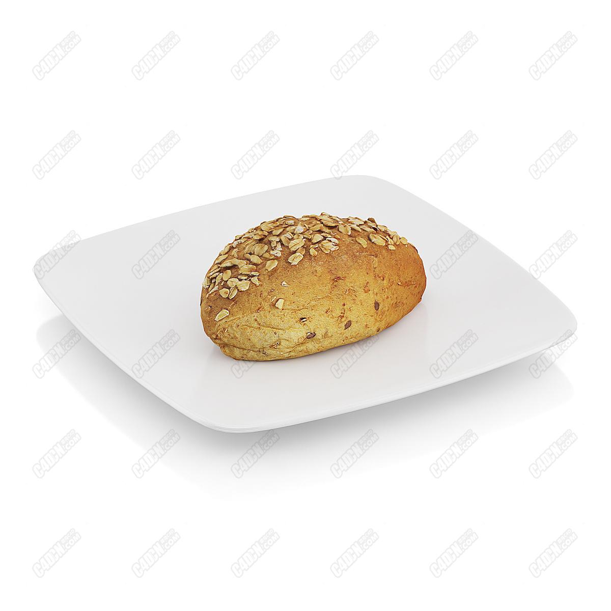 C4D模型-大粒饱满瓜子仁烘焙面包早餐食品模型(包含材质和贴图)
