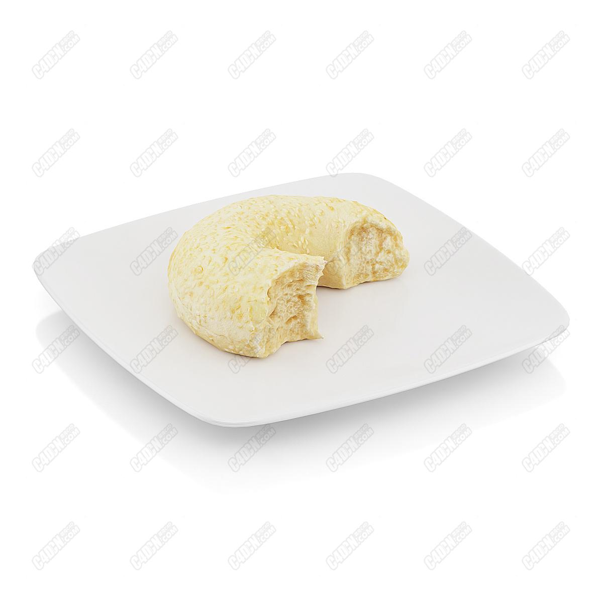 C4D模型-柔软香甜的面包圈蛋糕西点模型(包含材质和贴图)