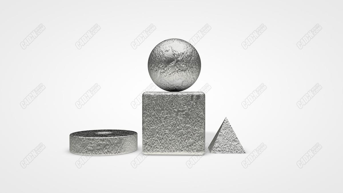C4D材质球-表面凹凸不平粗糙的金属反射材质