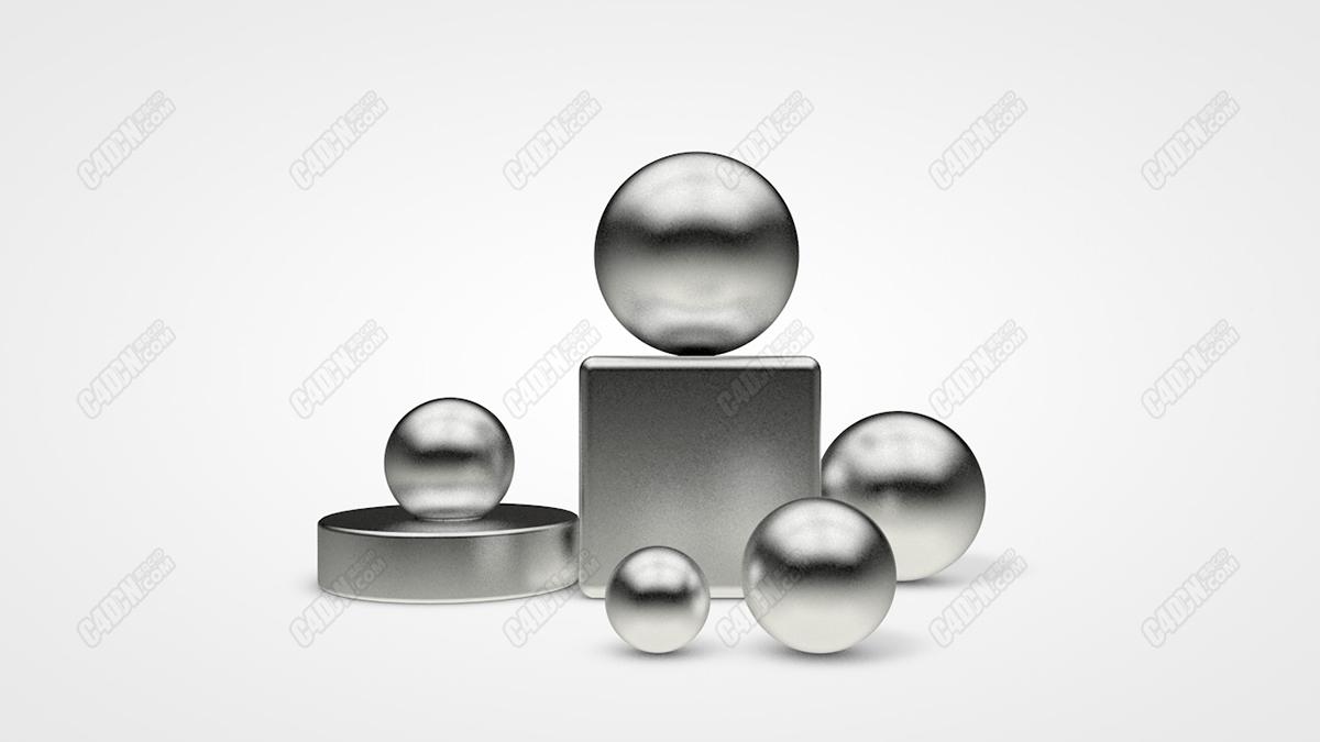 C4D材質球-磨砂金屬銀質材質