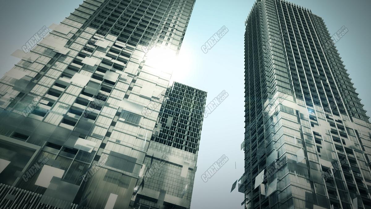 C4D中文教程-室外建筑生長動畫原創視頻教學