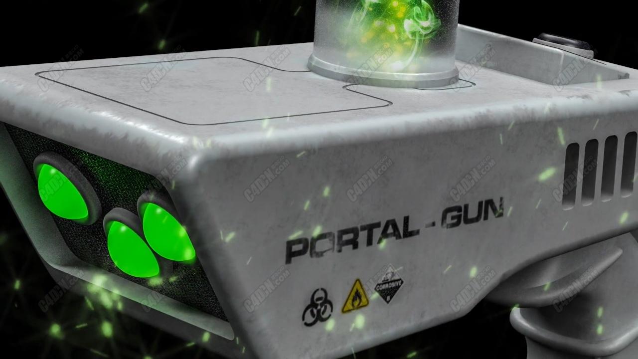 精品C4D教程-电磁极光能量发射器手枪多边形建模材质视频教程
