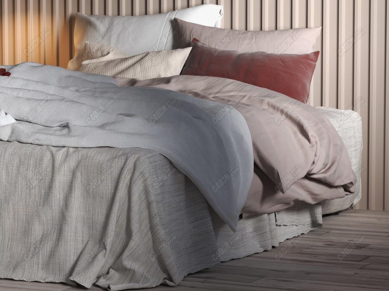 C4D室内工程模型-傍晚的打窗户卧室大双人床精品室内模型文件