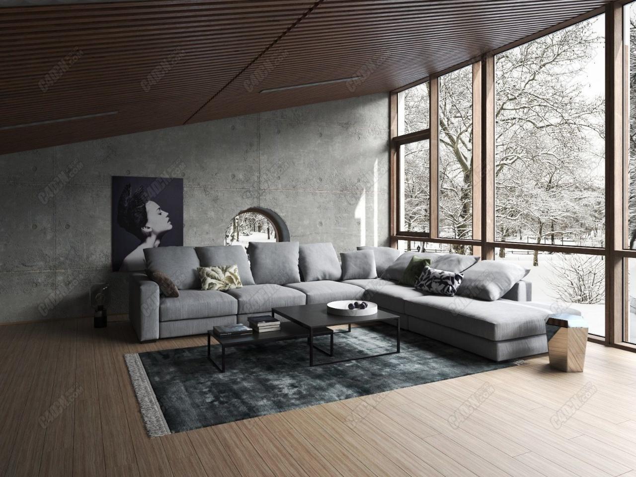 精品C4D室内工程模型-北欧别墅大客厅室内设计沙发茶几餐厅效果图场景下载