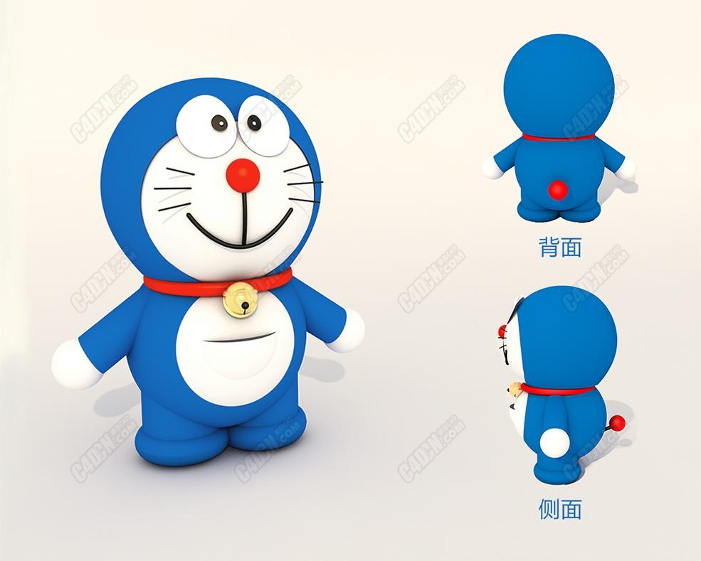 C4D多啦A梦可爱卡通动物角色机器猫模型素材