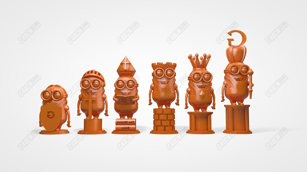 7组C4D小黄人象棋子手办玩偶模型 Minions chess C4D model