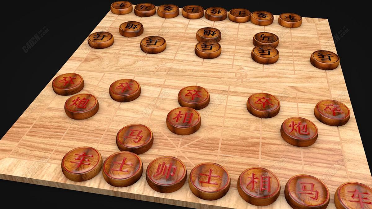 C4D中国象棋楚河汉界娱乐休闲游戏模型