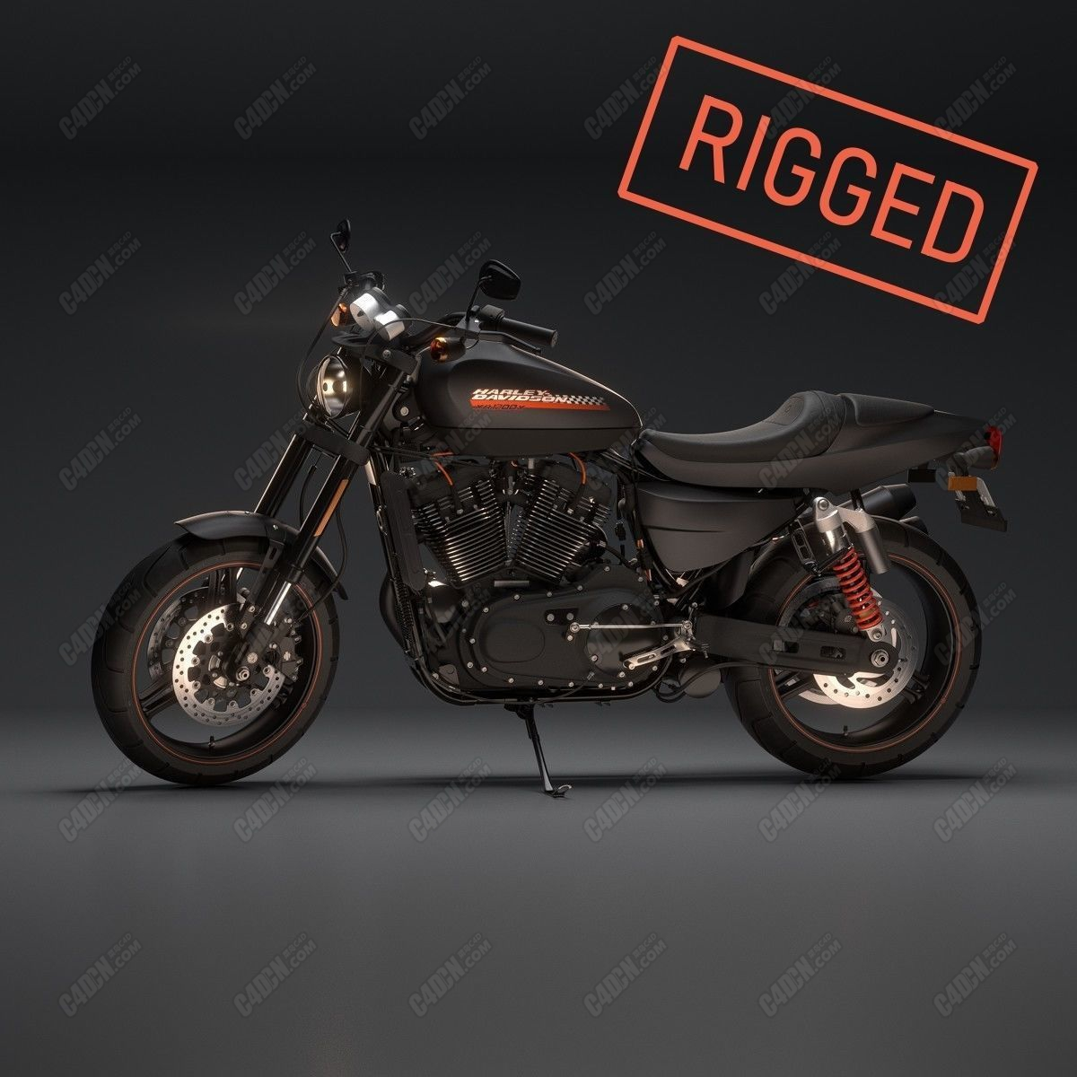 C4D汽车模型-哈雷戴维森XR1200X摩托车模型 Harley Davidson XR1200x Fu