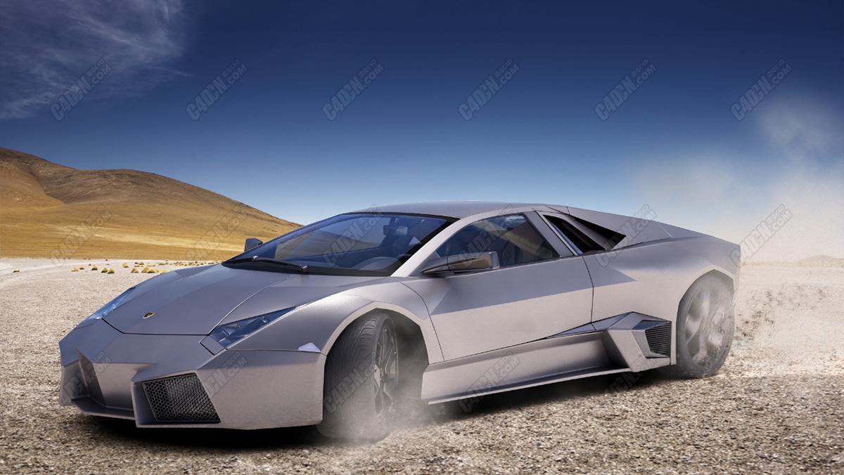 C4D汽车模型-兰博基尼Reventon超级跑车模型 Lamborghini Reventon 2009
