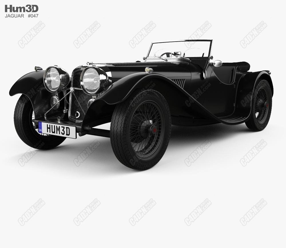 C4D汽车模型-1936款-捷豹SS100 1936 Jaguar SS100 C4D Model