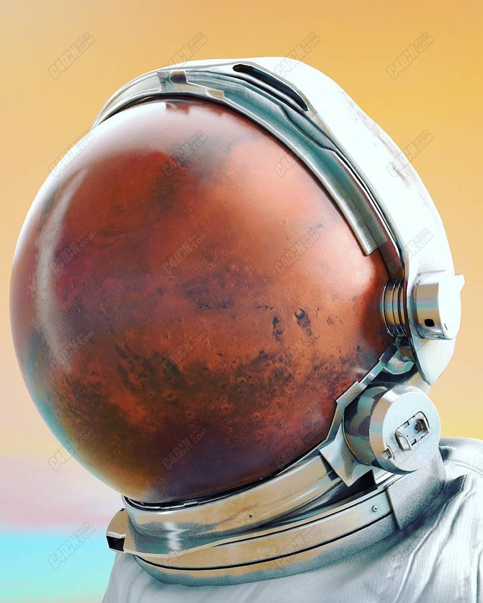 C4D太阳系科幻创意火星星球宇航员头盔工程模型素材下载