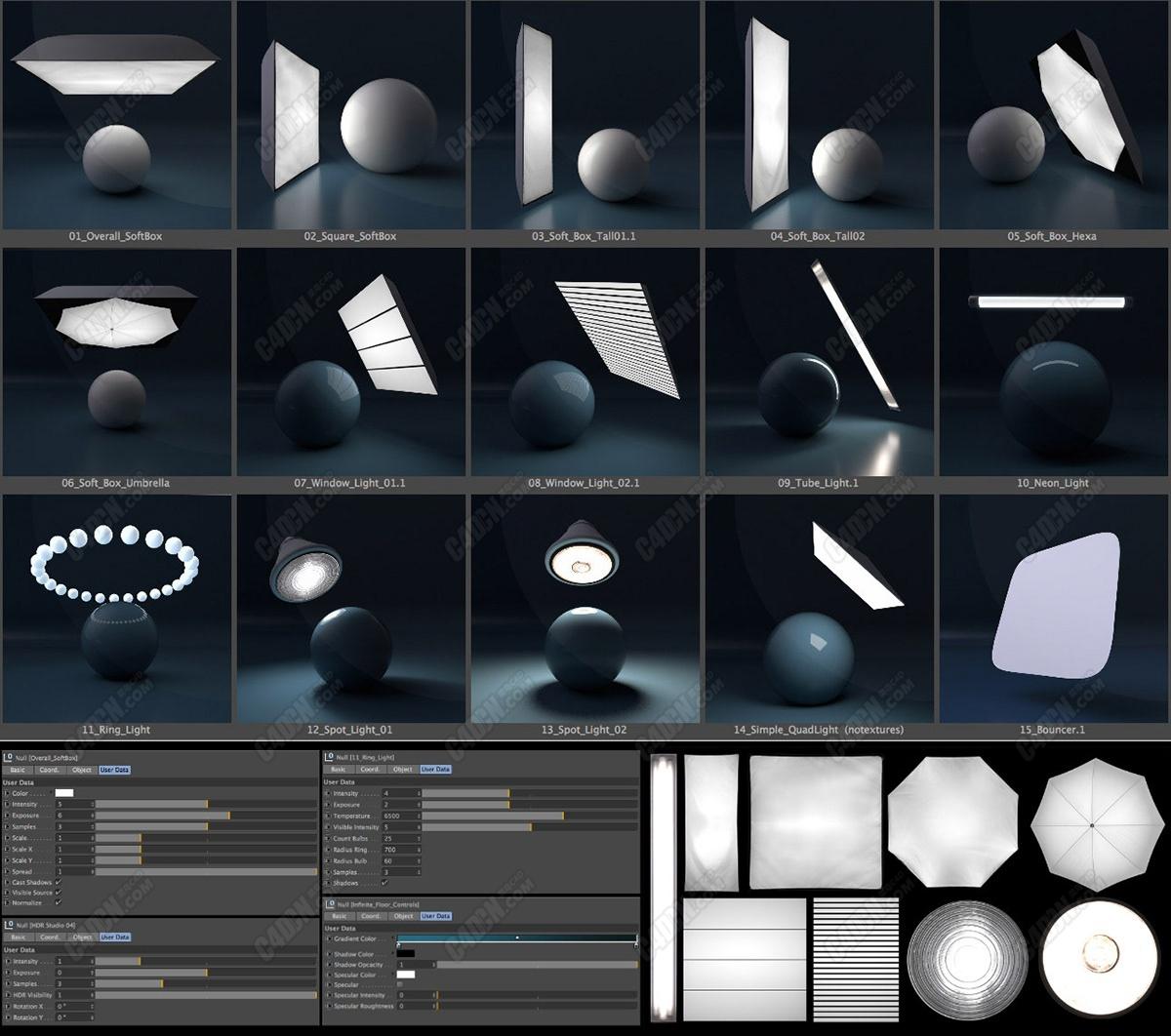 C4D阿诺德渲染器场景渲染HDR预设大合集 HDR rendering C4D presets