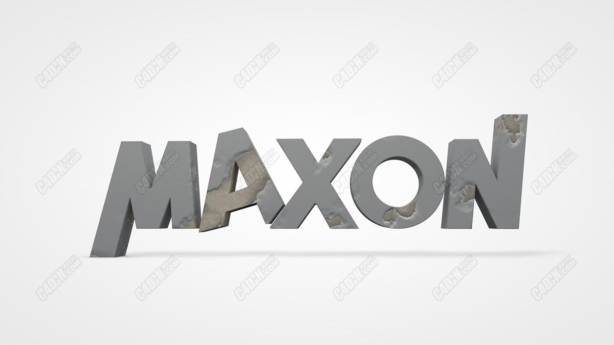 C4D官网MAXON标志LOGO破损材质模型下载