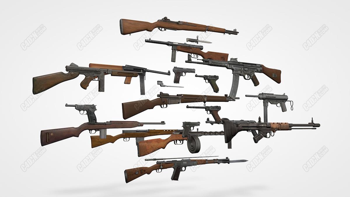C4D武器模型-现代战争枪械大合集 Weapon C4D model