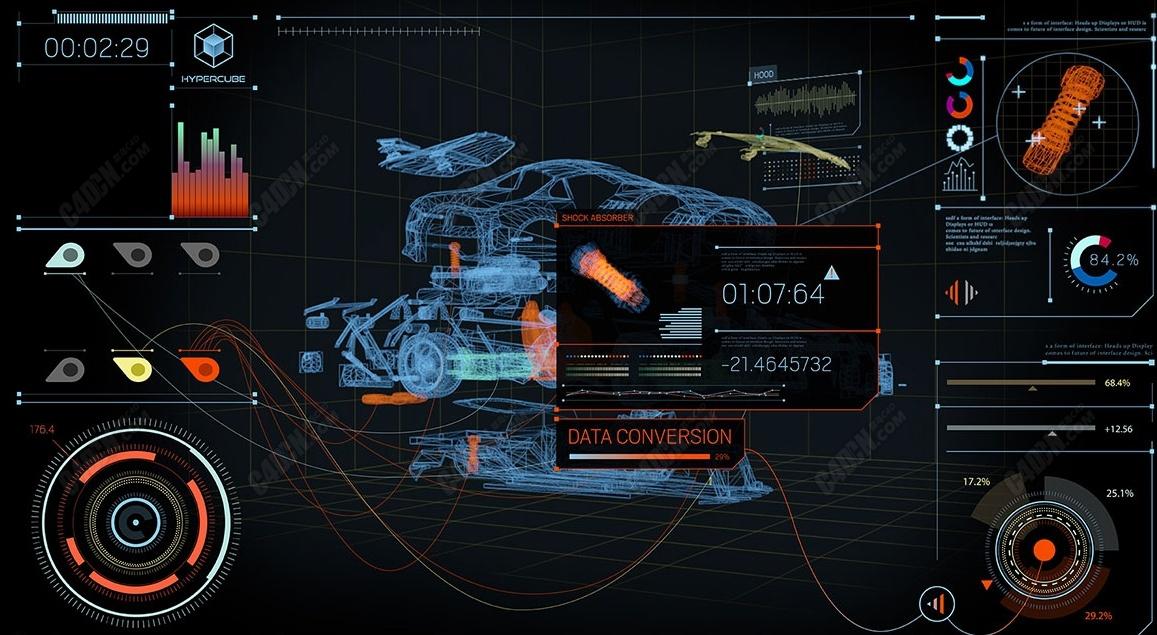未来全息科技汽车工业动画AE模板C4D工程模型下载