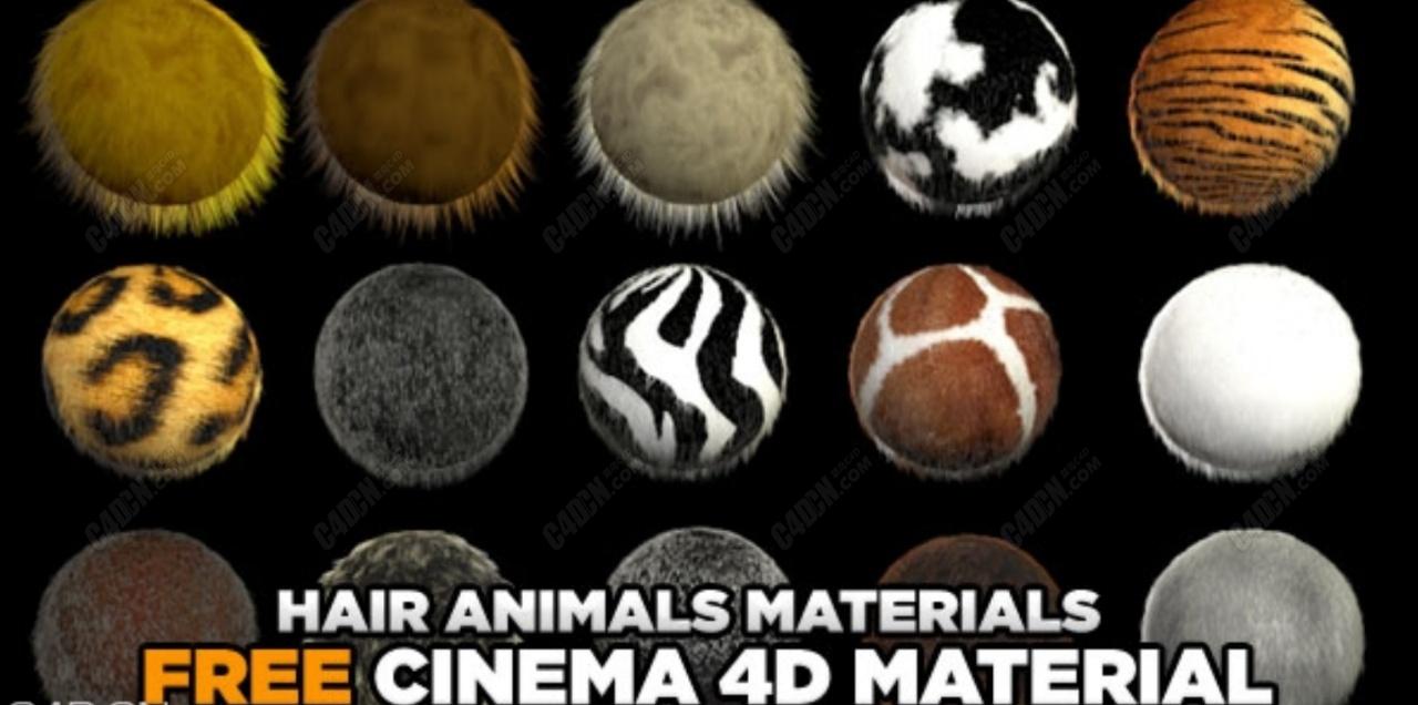 C4D材质-动物毛发毛皮材质纹理合集