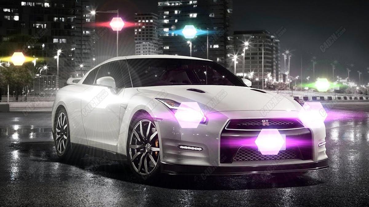 C4D灯光基础教程-模拟汽车大灯光晕效果