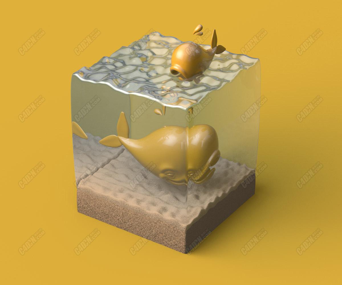 C4D水立方立体水族馆材质建模教程