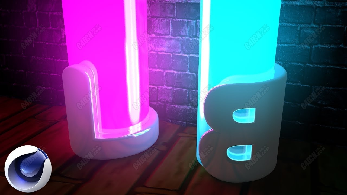 C4D教程-標志霓虹燈管