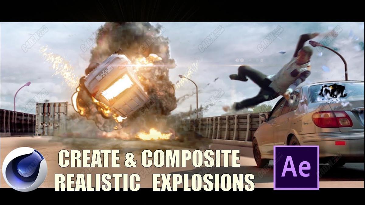 高级爆炸使用C4D和After Effects软件模拟人物车祸渲染和合成爆炸教程