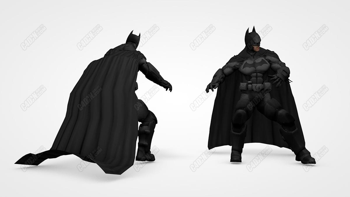 蝙蝠侠英雄人物C4D模型[含骨骼绑定] Batman my models C4D