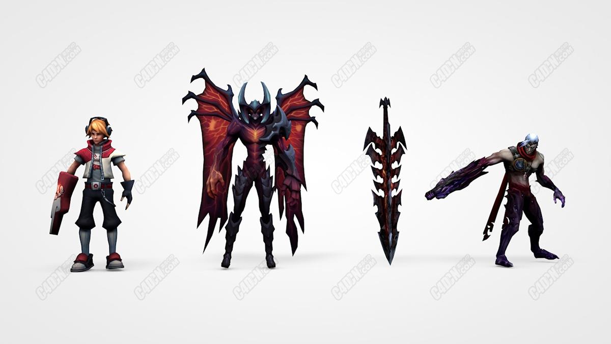 三个超级英雄人物组合C4D模型[含骨骼绑定] league of legends pack cinema 4D my models