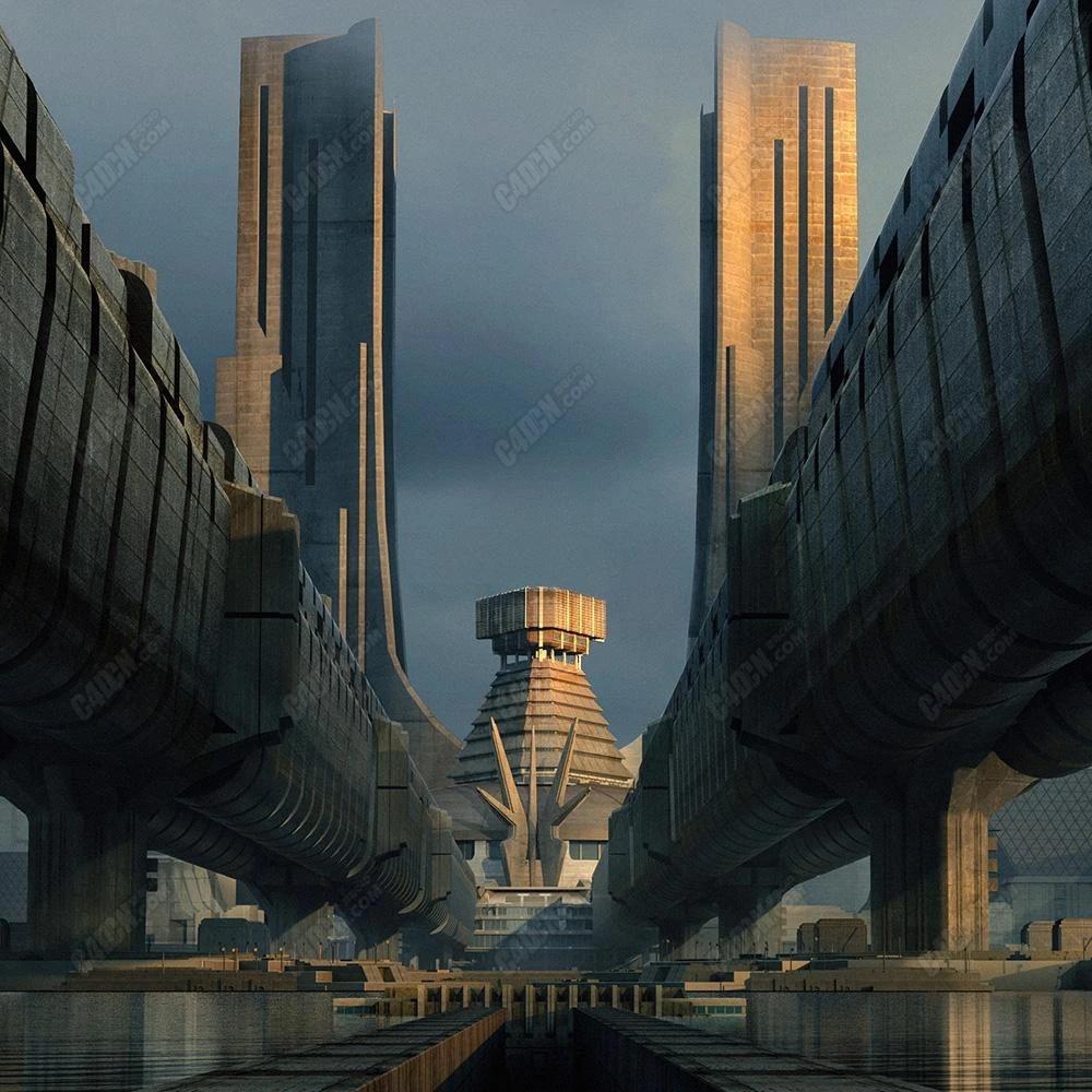 机械朋克现代都市城市建筑C4D模型合集