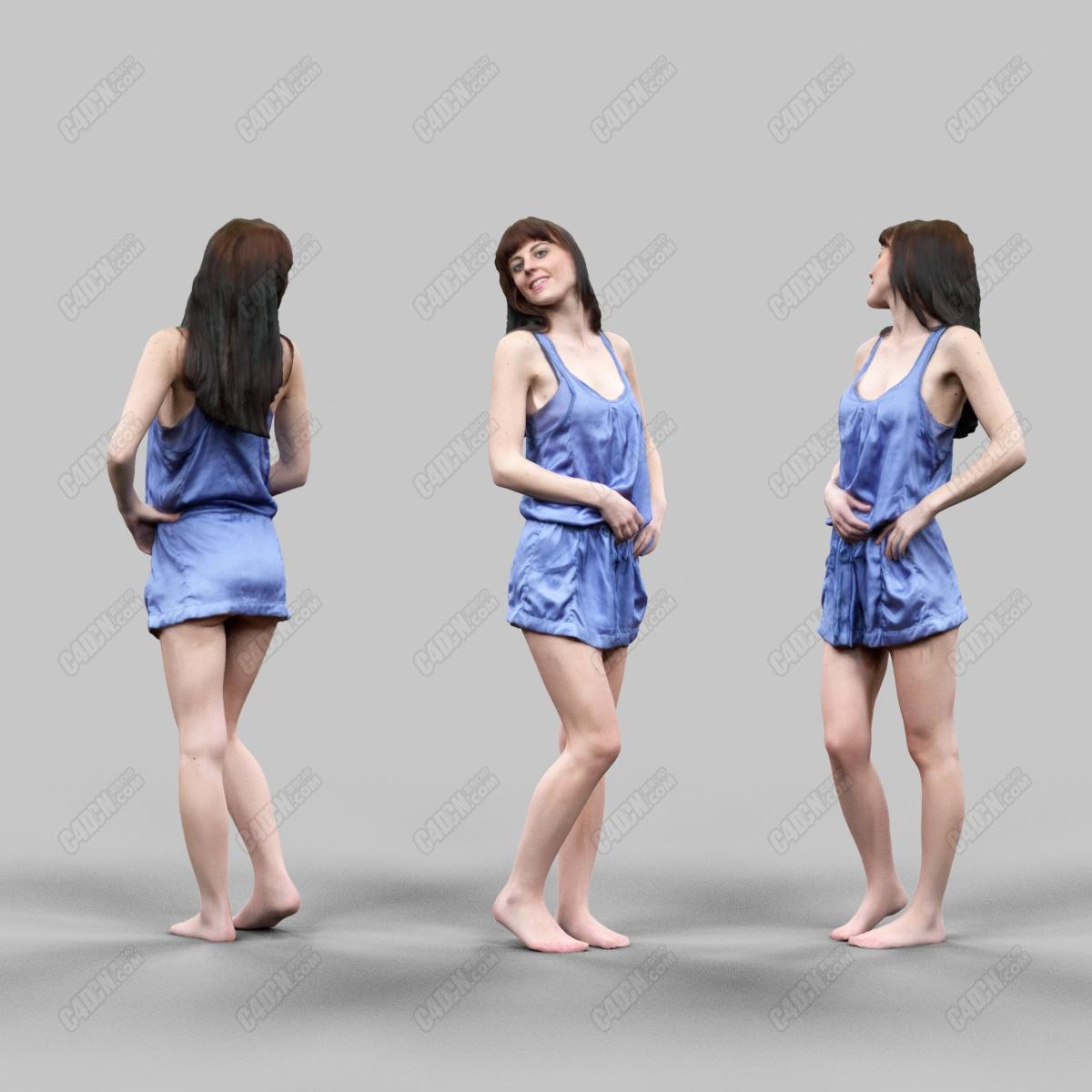 蓝色闪亮礼服的女孩C4D模型