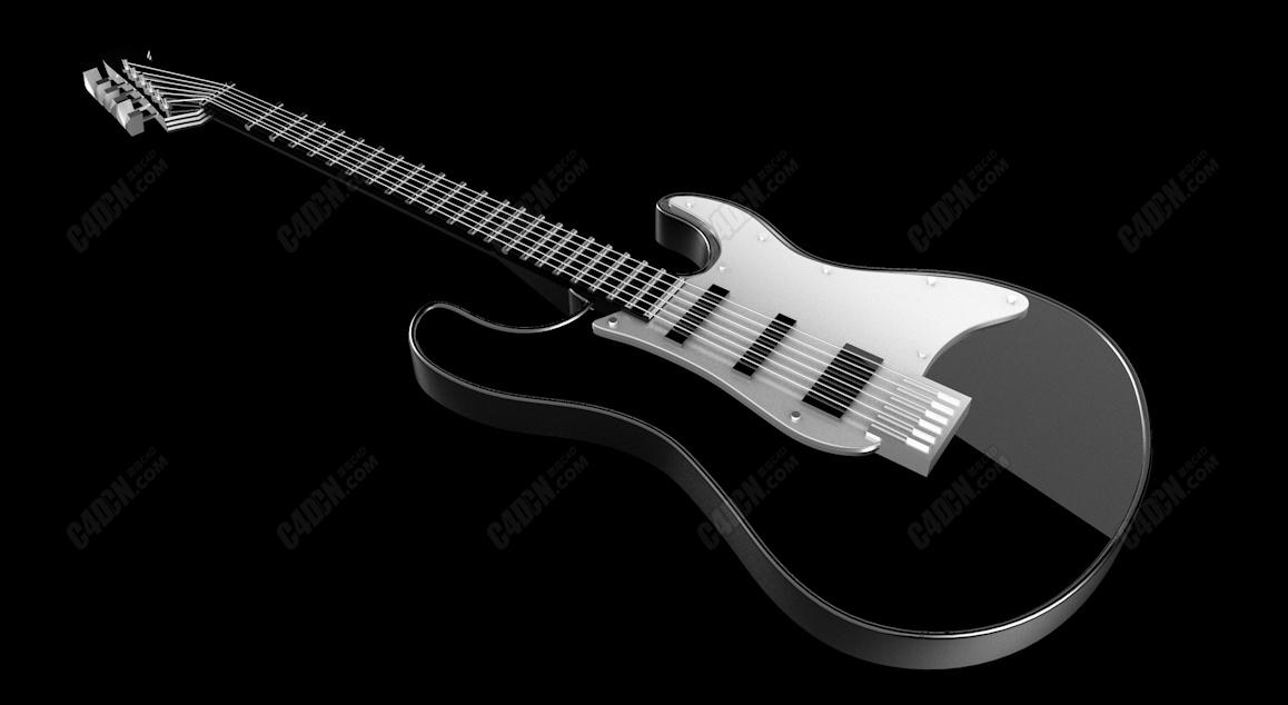 时尚音乐吉他乐器C4D模型