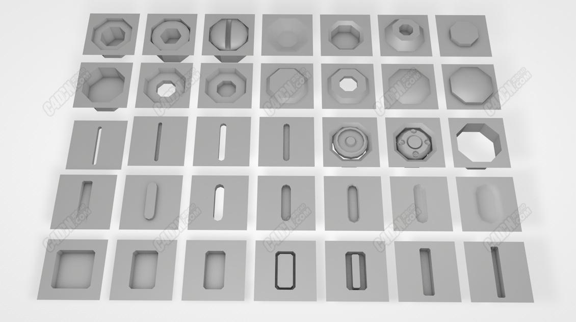 35種多邊形螺絲零件C4D模型預設 easy hard surface kit
